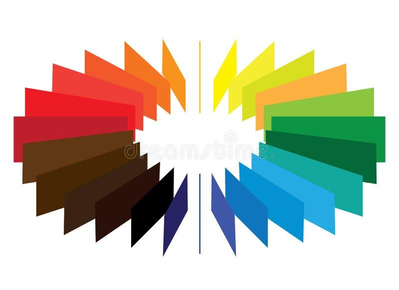 Blokken die een een kleuren (kleur) vormen wiel/ventilator stock illustratie
