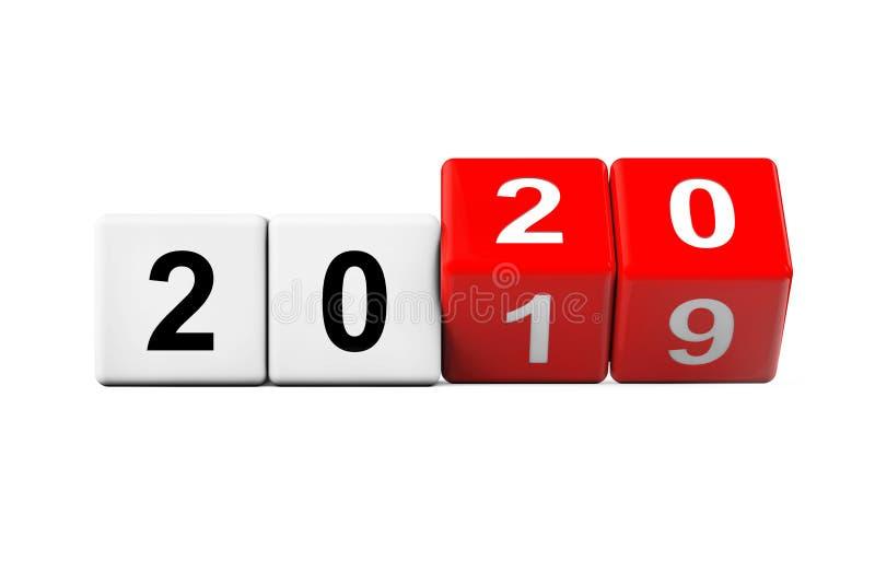 Blokken met de overgang van 2019 naar 2020 3d renderen vector illustratie