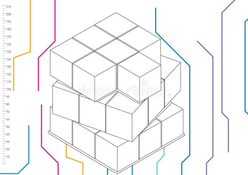 Blokken met schaal royalty-vrije illustratie