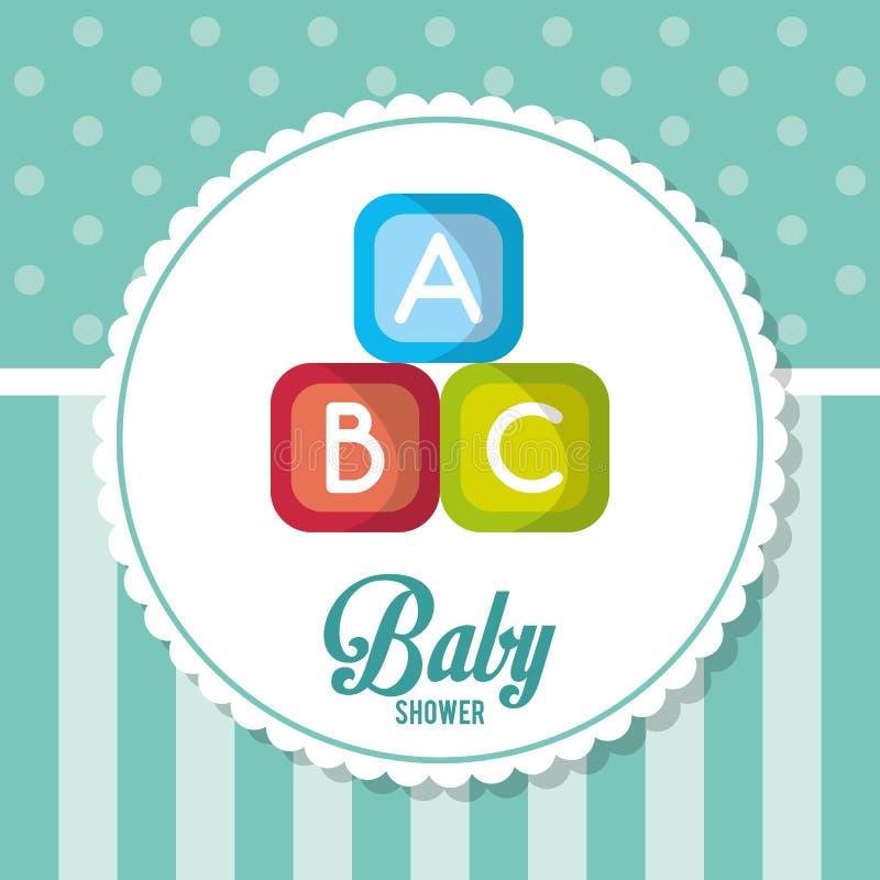 Blokken van de kaartontwerp van de babydouche royalty-vrije illustratie