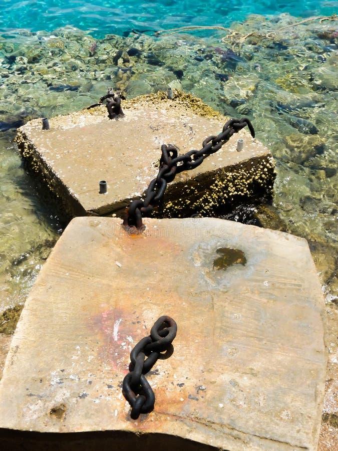 Blokken van de oude haven met kettingen royalty-vrije stock foto's