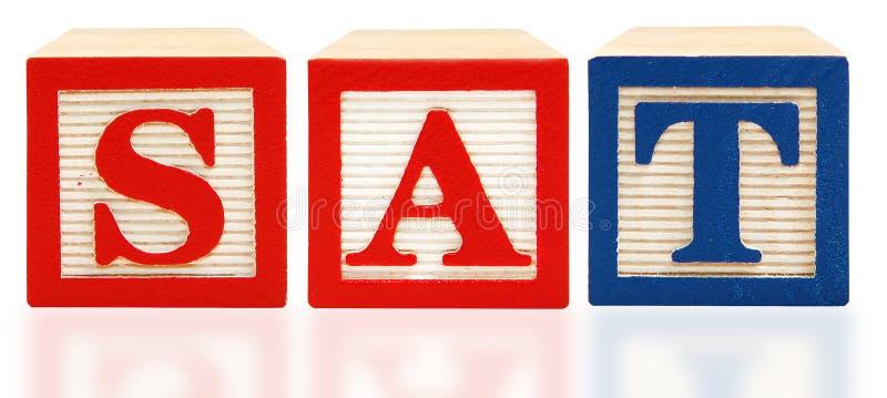Blokken van het alfabet ZATEN de Scholastische Test van de Beoordeling stock foto's