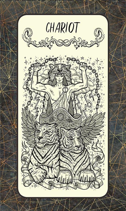 Blokkenwagen De Magische kaart van het Poorttarot royalty-vrije illustratie