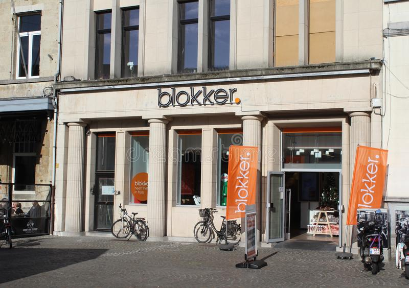 Blokker store Front Aalst, Belgium. AALST, BELGIUM 29 OCTOBER 2019: The exterior of a `Blokker` store in Aalst. `Blokker` is a large chain of stores in Benelux royalty free stock photography