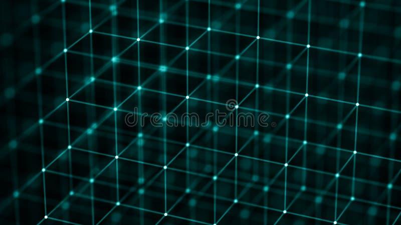 Blokketen concept De aansluting van het netwerk het 3d teruggeven Grote gegevensvisualisatie 4k het teruggeven vector illustratie