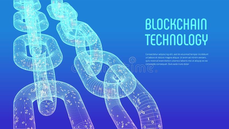Blokketen Crypto munt Blockchainconcept 3D wireframeketen met digitale code Het malplaatje van Editablecryptocurrency voorraad ve royalty-vrije illustratie