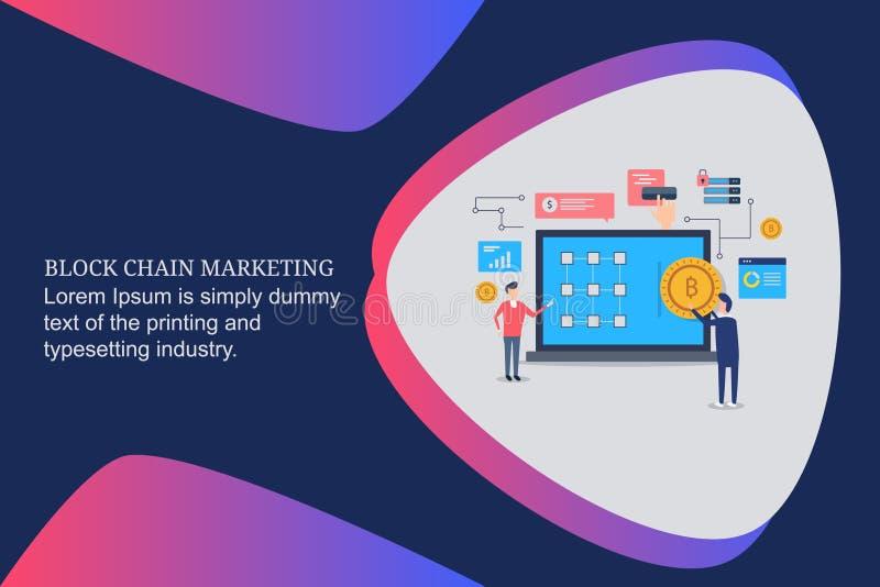 Blokketen, cryptocurrency, bitcoin, digitaal geld, portefeuille, zaken, marketing, investering, financiën, globale handelstechnol royalty-vrije illustratie