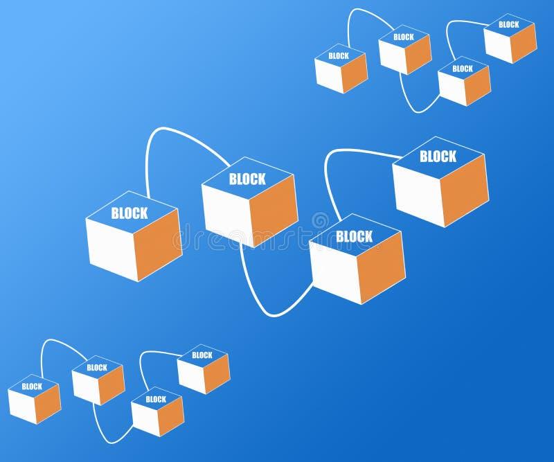 Blokketen de Gegevensversleuteling Conceptuele Futuristische Achtergrond van Cryptocurrency royalty-vrije illustratie