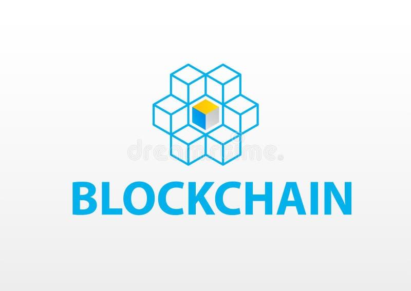 Blokketen embleem of pictogram - 3d isometrische zieke vector van het kubussennetwerk royalty-vrije illustratie