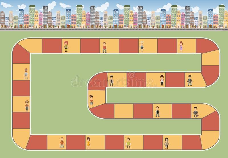 Blokowa ścieżka w mieście z ludźmi royalty ilustracja
