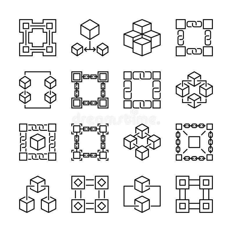 Blokowego łańcuchu ikony Kolekcja 16 wektoru blockchain znaków ilustracja wektor