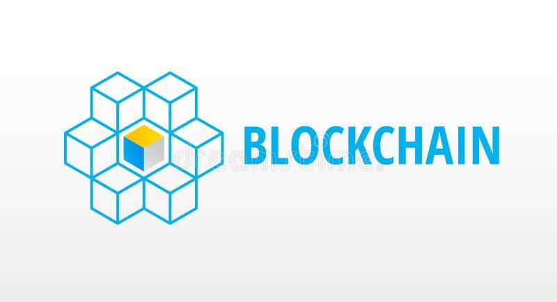 Blokowego łańcuchu logo lub ikona - 3d sześcianów sieci wektoru isometric bolączka royalty ilustracja