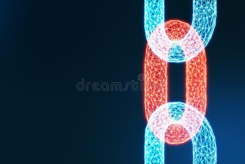 Blokowego łańcuchu pojęcie, cyfrowa blokowego łańcuchu technologia Cryptocurrency, pojęcie cyfrowy kod Czerwona łańcuszkowych poł ilustracji