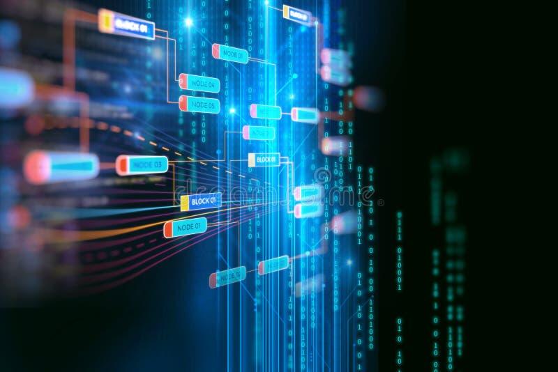 Blokowego łańcuchu sieci pojęcie na technologii tle ilustracji