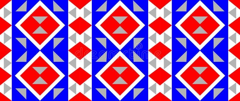 Blokowego druku stylu tło w błękitnym, czerwień, i siwiejemy kolory royalty ilustracja