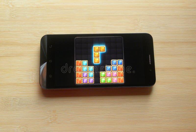 Blokowy łamigłówka klejnotu app zdjęcia stock