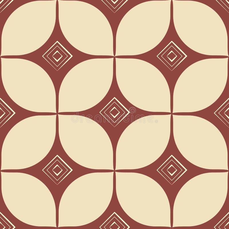 Blokowy druk bezszwowy wzoru geometrycznego styl retro ptaka rocznik śliczny ilustracyjny ustalony royalty ilustracja