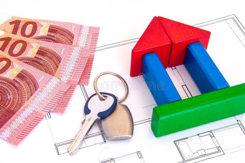 Bloku domu pieniądze klucz obrazy royalty free