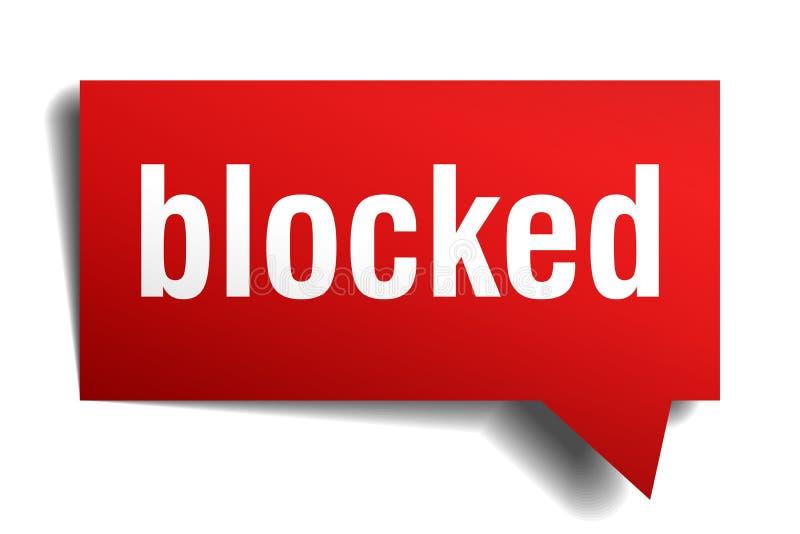 Blokujący czerwony 3d mowy bąbel royalty ilustracja