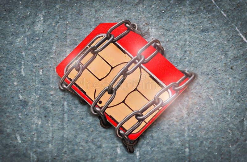 Blokujący mikroukładu pojęcie: banka układ scalony lub sim karta zdjęcia royalty free
