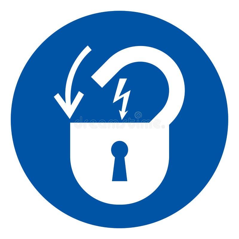 Blokuje Za Elektrycznej władzy symbolu znaku, Odizolowywa Na Białej tło etykietce, Wektorowa ilustracja, EPS10 ilustracji