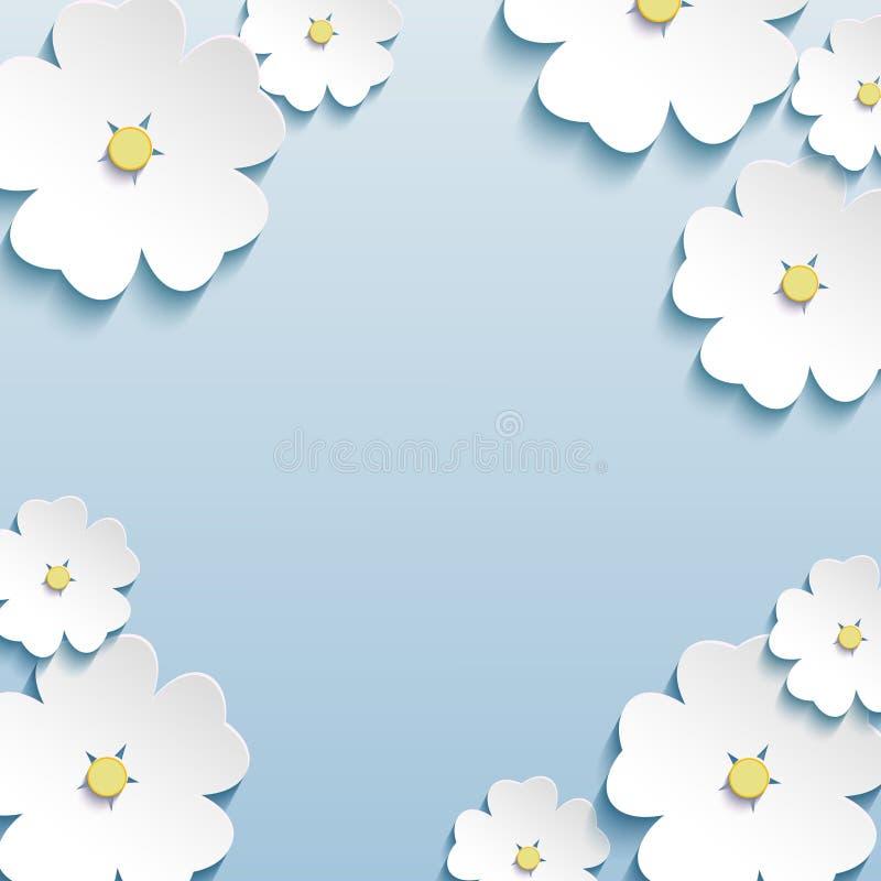 Blom- abstrakt bakgrund, 3d blommar det körsbärsröda trädet stock illustrationer