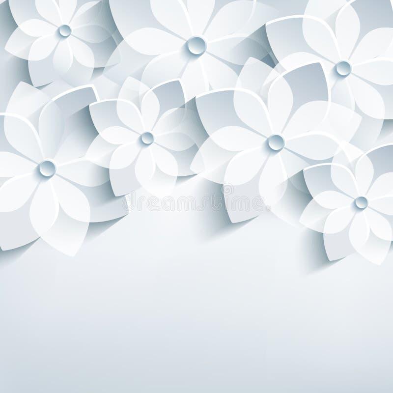 Blom- abstrakt bakgrund, stiliserad 3d blommar sa vektor illustrationer