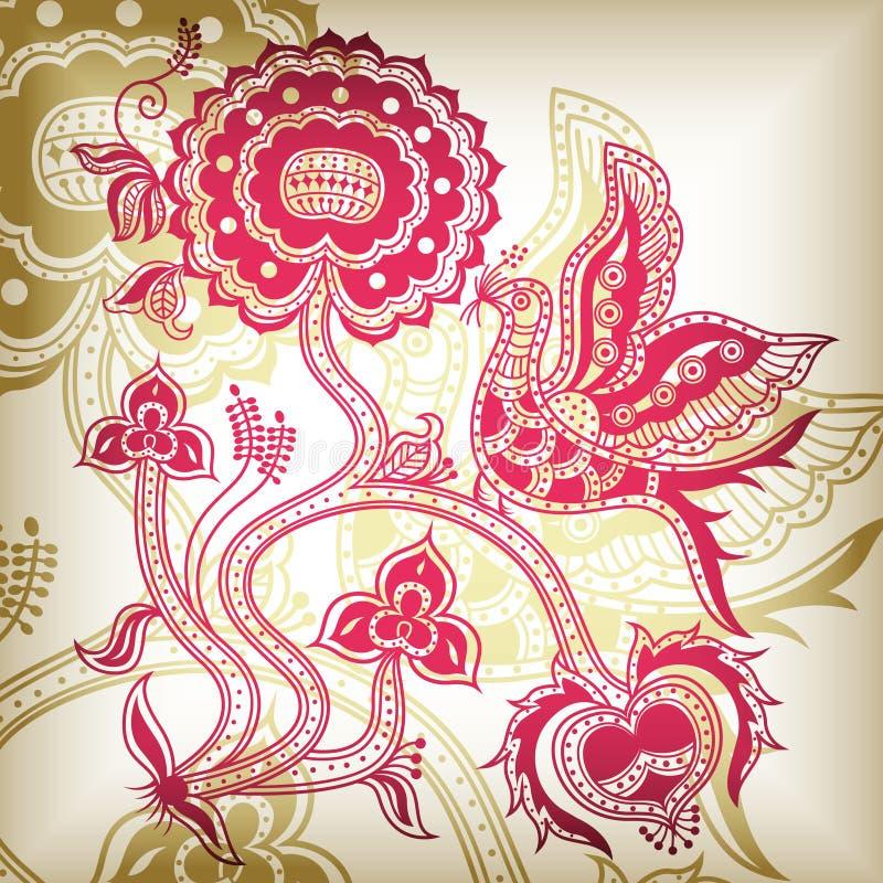 blom- abstrakt fågel vektor illustrationer