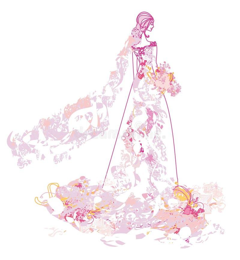 blom- abstrakt härlig brud royaltyfri illustrationer