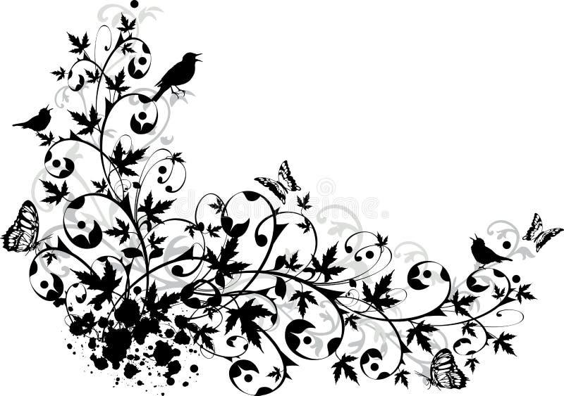 blom- abstrakt kant royaltyfri illustrationer