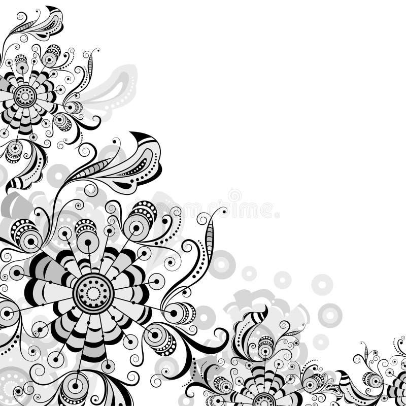 Blom- abstrakt modell i grå färger stock illustrationer