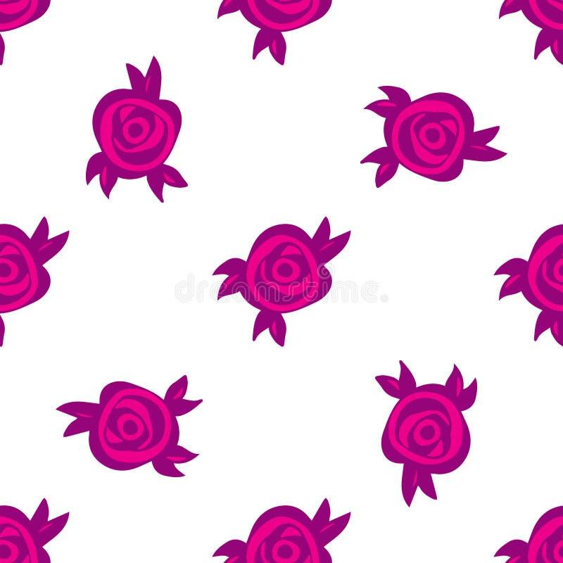 Blom- abstrakt modell med purpurfärgade rosa rosor och sidor vektor illustrationer