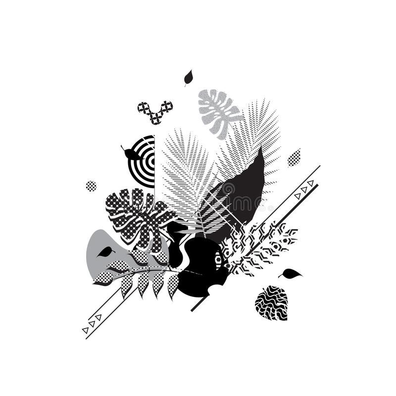 BLOM- ABSTRAKT MODERN MALLBAKGRUND geometrisk beståndsdel OLIK MODELL royaltyfri illustrationer
