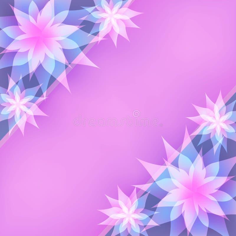 Blom- abstrakt purpurfärgad bakgrund, inbjudan eller G stock illustrationer
