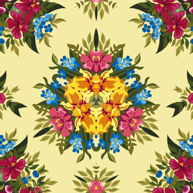 Blom- abstrakt sömlös modell för boho eller för hippie stock illustrationer