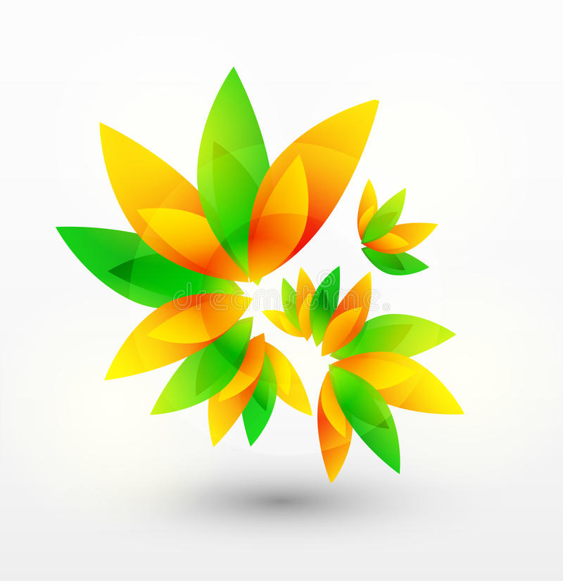Blom- abstrakt vektorbakgrund med gräsplan- och apelsinsidor vektor illustrationer