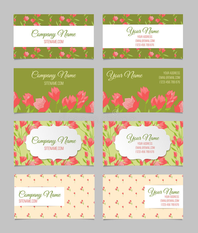Blom- affärskortuppsättning royaltyfri illustrationer