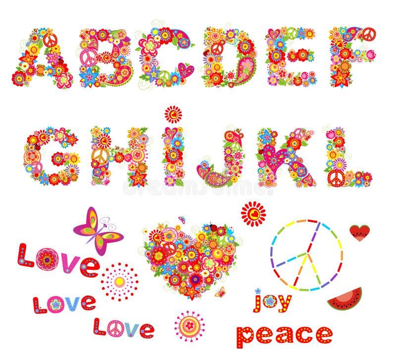 Blom- alfabet för hippie med roliga färgrika blommor Del 1 stock illustrationer