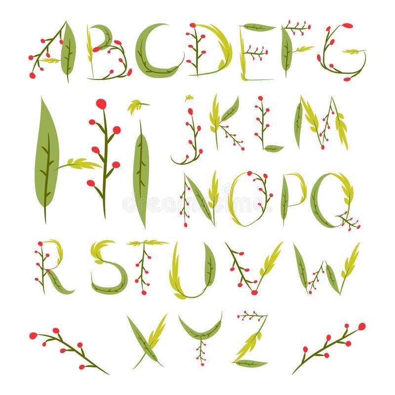 Blom- alfabet som göras av röda bär och sidor Hand dragen summe stock illustrationer