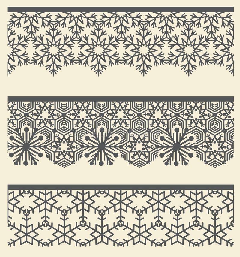 Blom- arabisk spets- sömlös gräns Snölinje modelluppsättning royaltyfri illustrationer