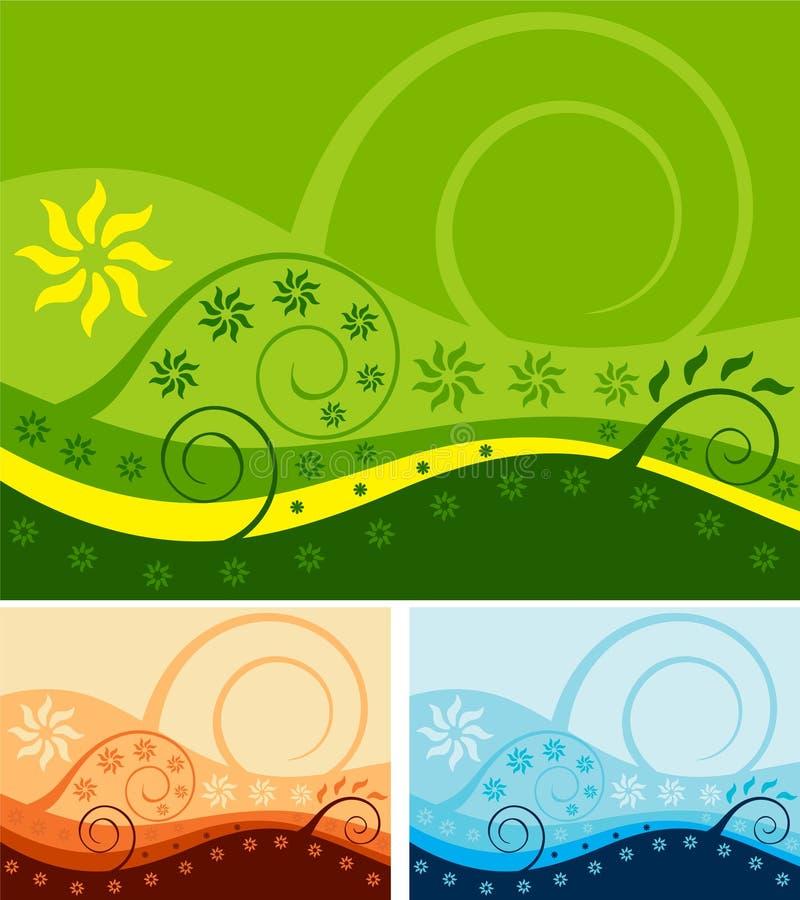 blom- bakgrund 2 vektor illustrationer