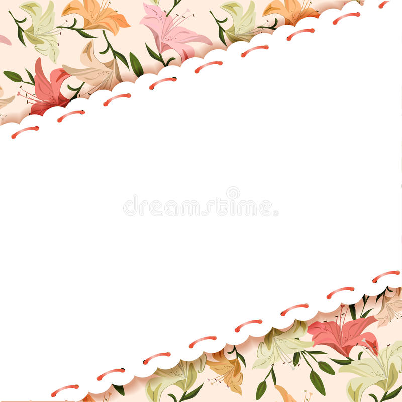 Blom- bakgrund av liljor stock illustrationer