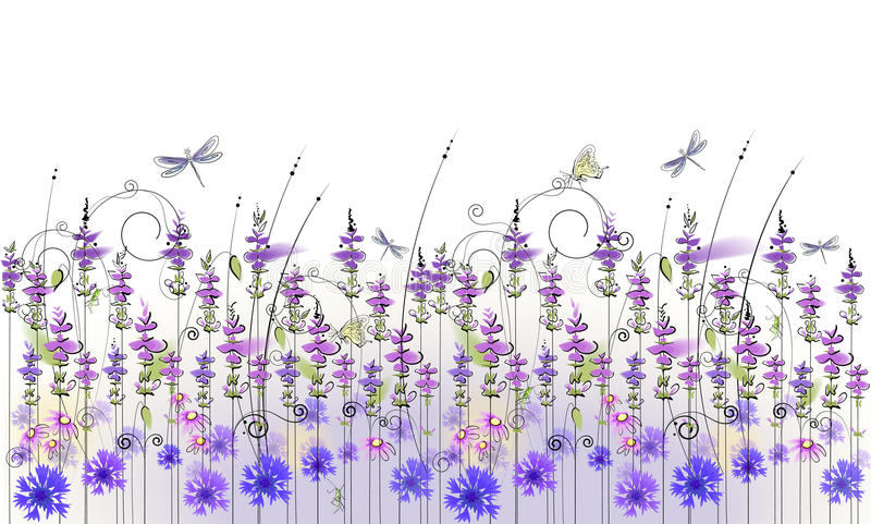 Blom- bakgrund av vildblommor stock illustrationer