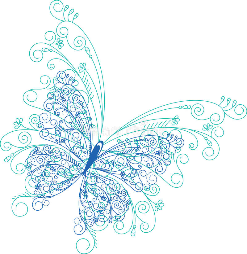 Blom- bakgrund för abstrakt fjäril vektor illustrationer