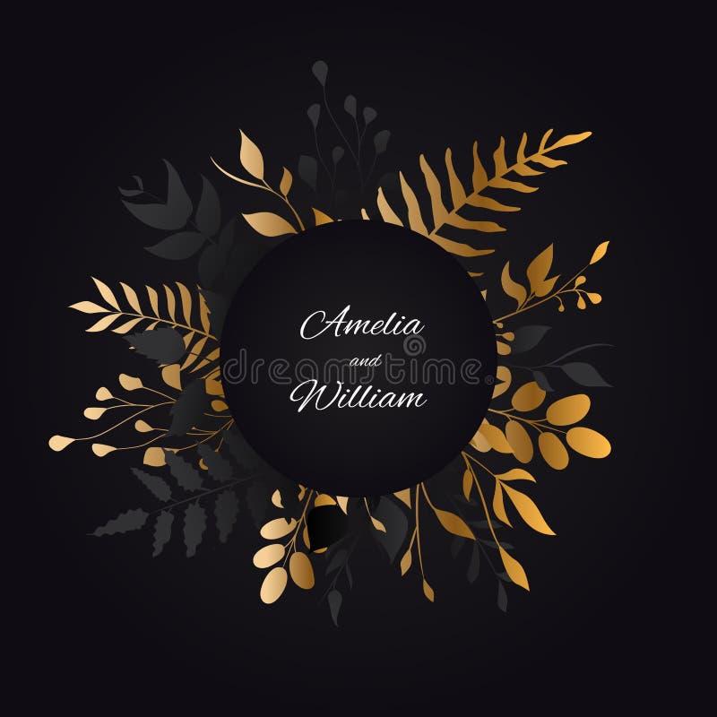 Blom- bakgrund för att gifta sig inviterar kortdesign med den guld- tropiska fanen, guld- sidor vektor royaltyfri illustrationer