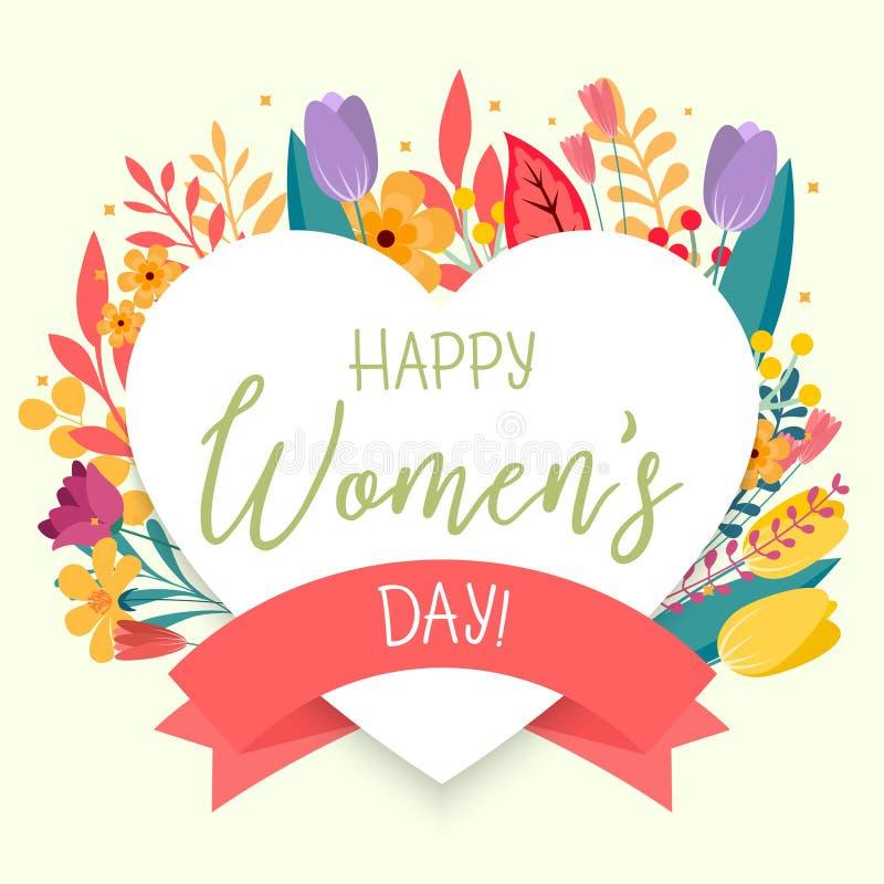 Blom- bakgrund för lyckliga kvinnors dag med valentin Elegant designmall för affär stock illustrationer