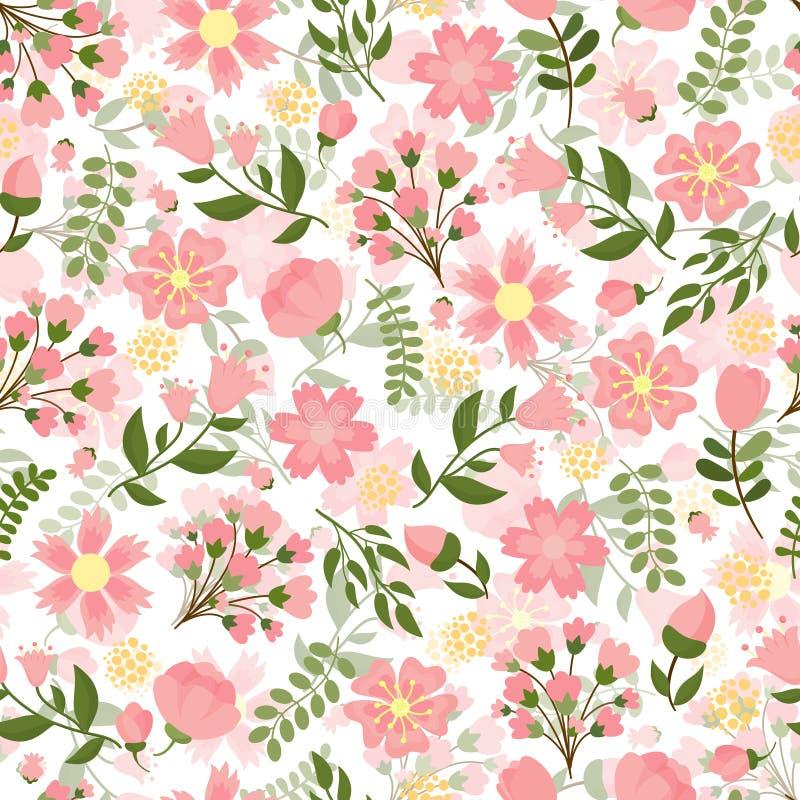 Blom- bakgrund för sömlös vår stock illustrationer