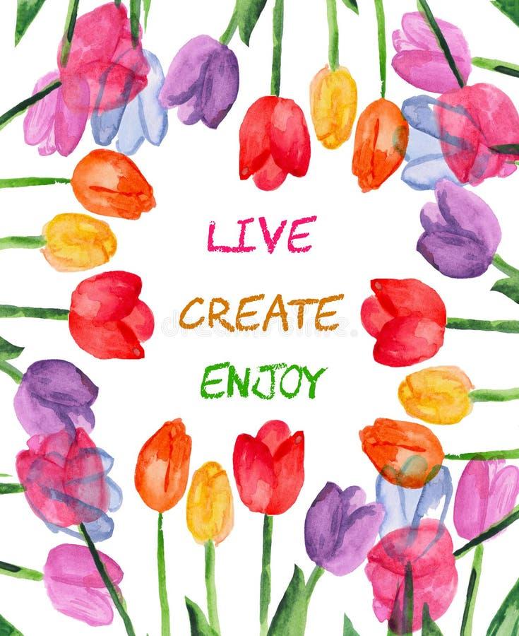 Blom- bakgrund för vattenfärg live skapa enjoy Motivational ordstäv stock illustrationer