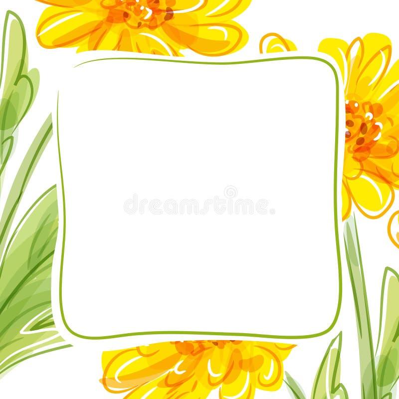 Blom- bakgrund för vektor med gula blommor royaltyfri illustrationer