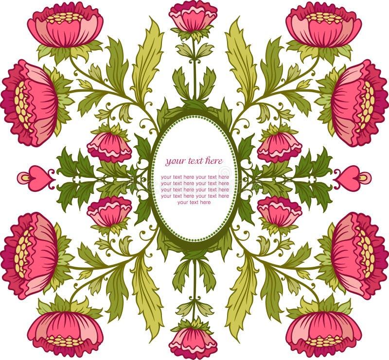 Blom- bakgrund. Inbjudankort med blommaramen. stock illustrationer